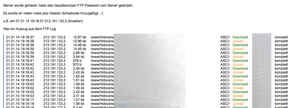 So sieht es aus, wenn der Server gehackt wird